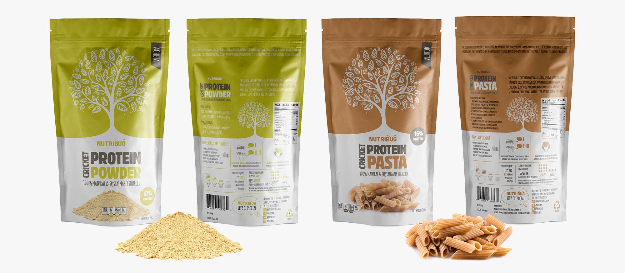 cricket pasta powder product lineup